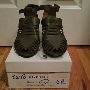 Military green leather high heel shoes 7.5